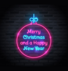 neon sign merry christmas and a happy new year vector image