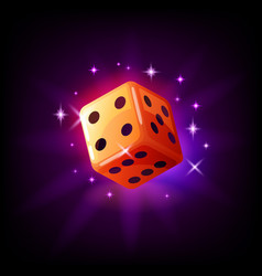 orange game dice in flight with sparkles slot icon vector image