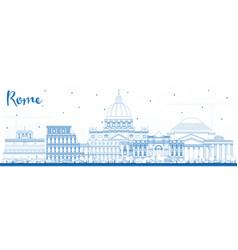 Outline rome italy city skyline with blue vector
