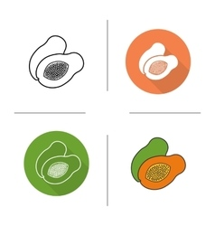 Papaya flat design linear and color icons set vector image