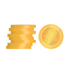 Pile golden coins isolated on white vector