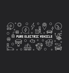 Pure electric vehicle horizontal banner in outline vector