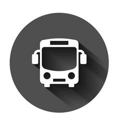 school bus icon in flat style autobus on black vector image
