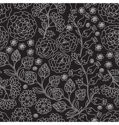 Seamless floral pattern in black and white color vector image