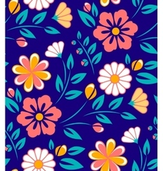 Seamless spring flower pattern on blue background vector image