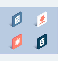 security downloading and edit document icons vector image