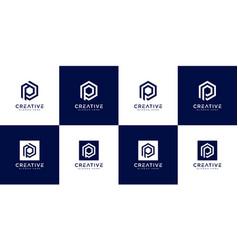 Set initial letter p logo design vector