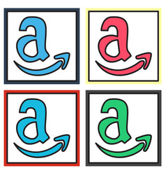 Set of amazon online shop smile store icon vector