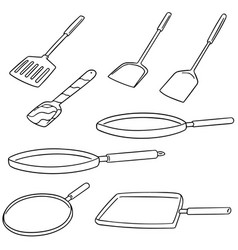 set of pan and flipper vector image
