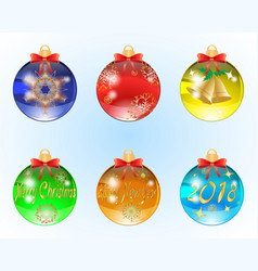set of six christmas balls vector image