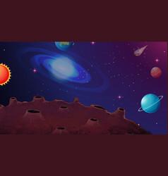 Solar system planet scene vector