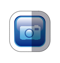 Sticker blue square frame with analog camera icon vector