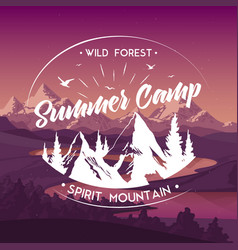 Summer camp travel advertisement poster vector