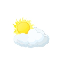 Sun and cloud icon cartoon style vector