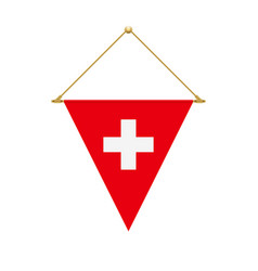 swiss triangle flag hanging vector image