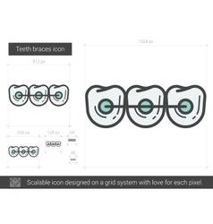 Teeth braces line icon vector