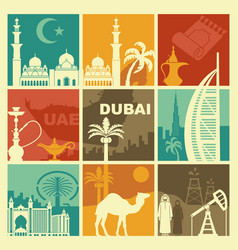 traditional symbols of the united arab emirates vector image
