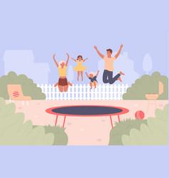 Trampoline jumping cartoon vector