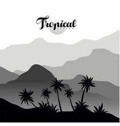 Tropical design monochrome landscape scenery with vector