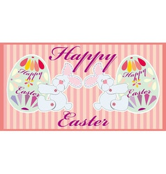 Two easter funny rabbits with egss vector image