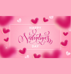 valentines day lettering text greeting card vector image
