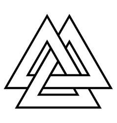 Valknut symbol triangle logo viking age symbol vector