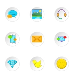 Web messages icons set cartoon style vector