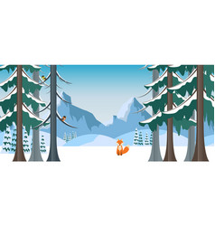 winter landscape with fox in flat style vector image