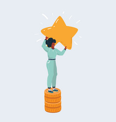 woman on pile money hold a big stars vector image