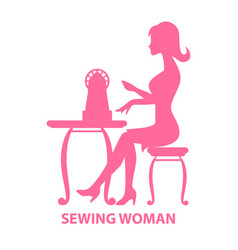 Woman sitting with sewing machine vector