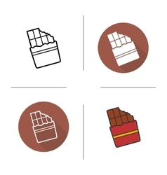 Chocolate bar flat design linear and color icons vector image