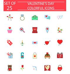 happy valentines day solid icon set vector image