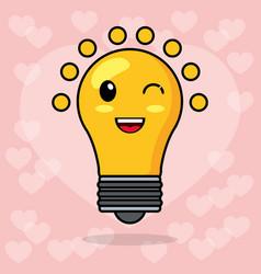 kawaii bulb light image vector image
