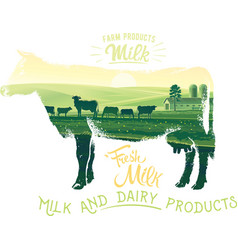 silhouette of a cow on a white background vector image