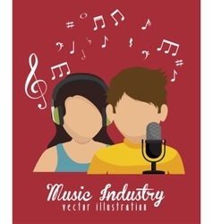 couple singing isolated icon design vector image