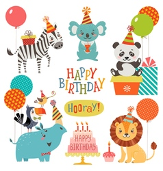 Cute animals birthday wishes vector image