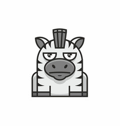 cute zebra icon on white background vector image vector image