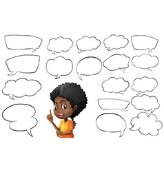 Kid and different types of bubble speeches vector image