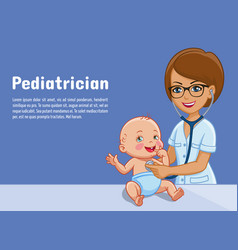 pediatrician and baby cartoon vector image
