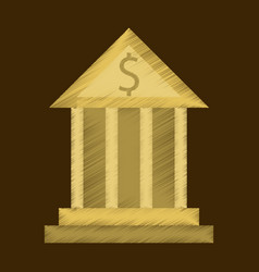 flat shading style icon business bank building vector image vector image