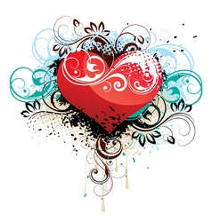 floral heart background vector image vector image