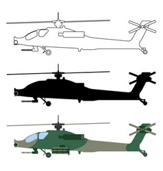 military icon helicopter silhouette cartoon vector image vector image