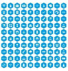 100 plane icons set blue vector