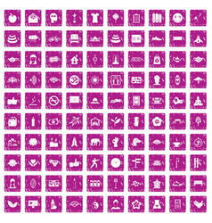 100 yoga studio icons set grunge pink vector