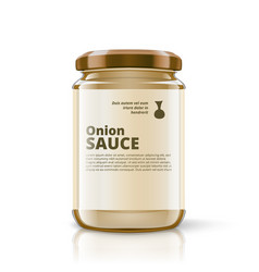 3d glass jar of onion sauce with label vector
