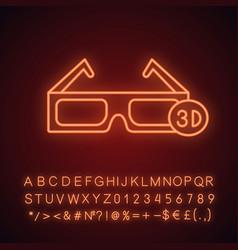 3d glasses neon light icon vector