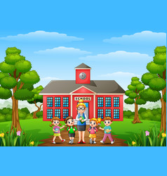 A students and teacher in front of school building vector