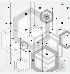 abstract connect hexagonal structure background vector image