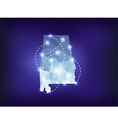Alabama state map polygonal with spot lights vector