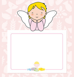 Angel girl with wings on top of poster vector